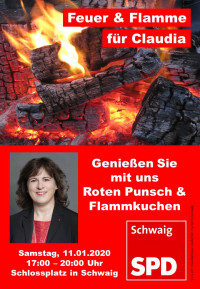"Plakat ""Feuer & Flamme für Claudia"""